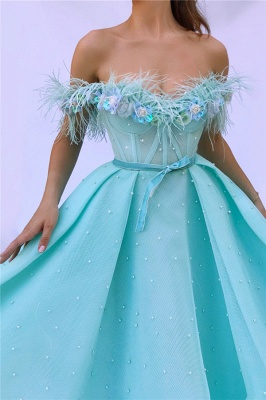 Sexy Off the SHoulder Sleeveless Prom Dress   Cute Feather Tulle Long Prom Dress with Pearls_2