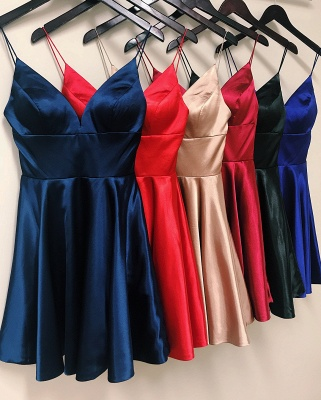 A-line Spaghetti Straps Short Satin Homecoming Dress_3