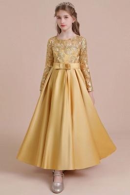 Ankle Length Flower Girl Dress for Weddings| Long Sleeve Satin Little Girls Dress_9