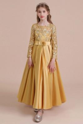 Ankle Length Flower Girl Dress for Weddings| Long Sleeve Satin Little Girls Dress_10