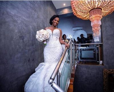 Luxury Beaded Lace Mermaid Sweetheart Wedding Dresses | Spaghetti-Straps Appliques Cheap Bride Dresses_3