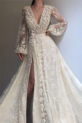 Exquisite Tulle Lace Beading Long Sleeves Prom Dress | Sexy V Neck Beading Slit Prom Dress_1