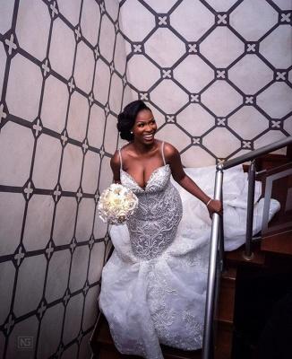 Luxury Beaded Lace Mermaid Sweetheart Wedding Dresses | Spaghetti-Straps Appliques Cheap Bride Dresses_5