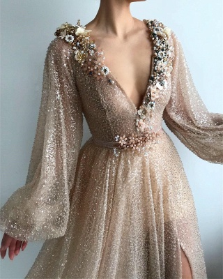 Sparkle Sequins Long Sleeves Prom Dress | Sexy V Neck Front Slit Long Prom Dress_2