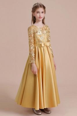 Ankle Length Flower Girl Dress for Weddings| Long Sleeve Satin Little Girls Dress_7