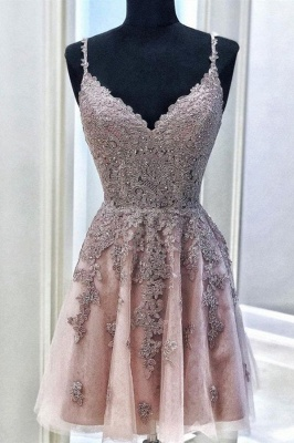 Cute V Neck Sleeveless Beads Sexy Short Homecoming Dresses | Chic Spaghetti Straps Lace Cocktail Dress_1