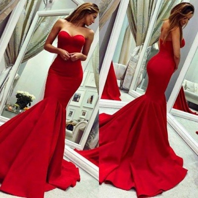 Red sweetheart mermaid prom dress with train_3