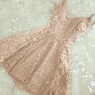 Elegant Crystal Custom Made A-line Appliques Spaghetti Straps Sexy Short Homecoming Dresses_3