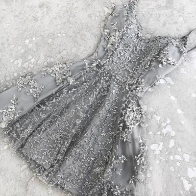 Elegant Crystal Custom Made A-line Appliques Spaghetti Straps Sexy Short Homecoming Dresses_2