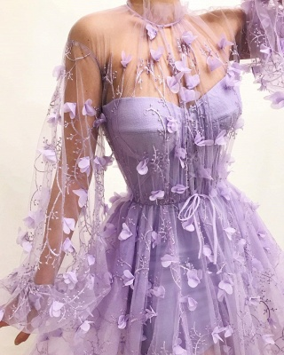 Sexy Tulle High Neck Front Slit Prom Dress | Chic Appliques Flowers Long Sleeves Prom Dress_2