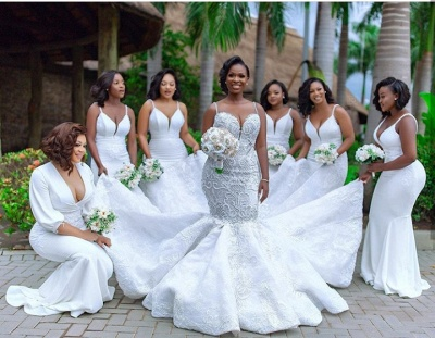 Luxury Beaded Lace Mermaid Sweetheart Wedding Dresses | Spaghetti-Straps Appliques Cheap Bride Dresses_7