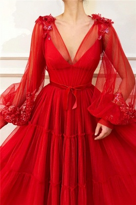 Chic V Neck Long Sleeves Red Tulle Prom Dress | Charming Ball Gown Appliques Beading Long Prom Dress_2