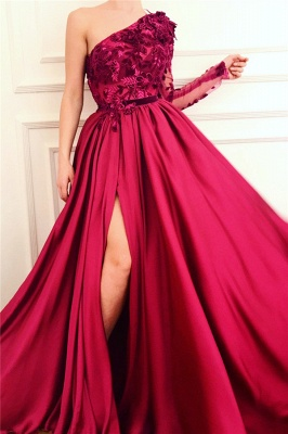 Sexy One Shoulder Front Slit Burgundy Prom Dress   Affordable One Sleeve Appliques Long Prom Dress_1