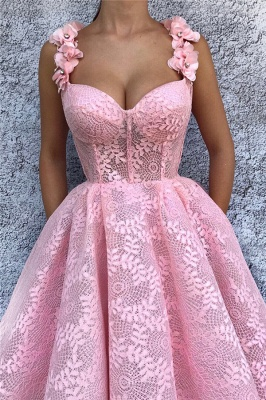 Exquisite Lace Sweetheart Pink Prom Dress   Chic Flower Straps Sleeveless Long Prom Dress_2