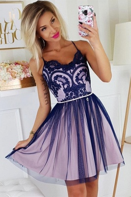 Chic Spaghetti Straps Lace Homecoming Dress | Cheap Sleeveless Short Grape Homecoming Dress_1
