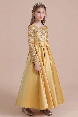 Knöchellanges Blumenmädchenkleid für Hochzeiten | Langarm Satin Kleine Mädchen Kleid_4