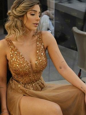 Sexy Front Slit Deep V Neck Prom Dress | Cheap Sleeveless Beading Ruffles Long Prom Dress_2