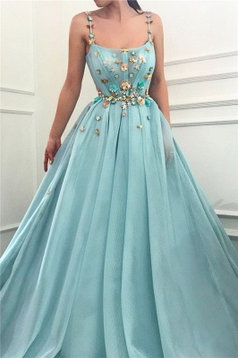 Sexy Spaghetti Straps Sleeveless Long Prom Dress | A Line Beading Flowers Cheap Prom Dress_1