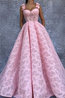 Exquisite Lace Sweetheart Pink Prom Dress | Chic Flower Straps Sleeveless Long Prom Dress_1