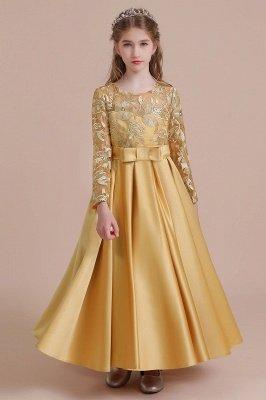 Knöchellanges Blumenmädchenkleid für Hochzeiten | Langarm Satin Kleine Mädchen Kleid_8