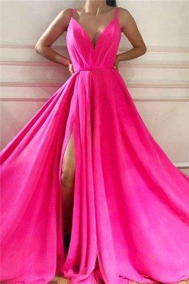 Robe de bal longue sexy sans bretelles spaghetti | Robe de bal rose fendue et abordable_1