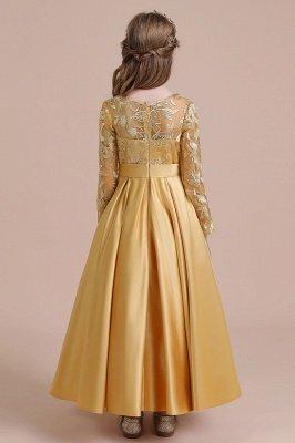 Knöchellanges Blumenmädchenkleid für Hochzeiten | Langarm Satin Kleine Mädchen Kleid_3