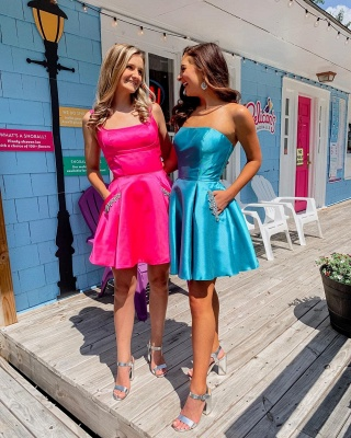 Chic Straps Square Neckline Homecoming Dress | Unique Strapless Short Cocktail Dress with Pockets_2