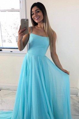 Simple Spaghetti Straps Sleeveless Bridesmaid Dress   Chic Chiffon Long Wedding Party Dress_1