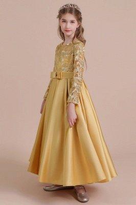 Knöchellanges Blumenmädchenkleid für Hochzeiten | Langarm Satin Kleine Mädchen Kleid_5