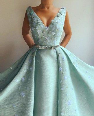 Robe de bal exquise paillettes à encolure en V | Robe de bal longue avec fleurs et perles_2
