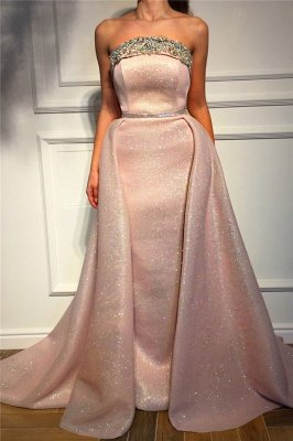 Sparkle Sequins Strapless Pink Prom Dress | Fantastic Sleeveless Beading Long Prom Dress_1
