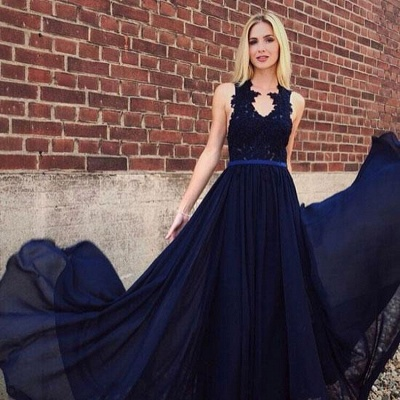 Elegant Chiffon Lace Bridesmaid Dress | Chic Sleeveless Navy Blue Wedding Party Dress_2