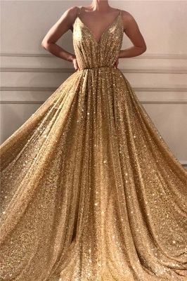 Glamorous Sequins Spaghetti Straps Long Prom Dress | Sparkle V Neck Sleeveless Gold Prom Dress