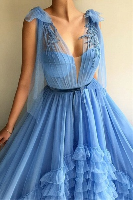 Sexy Tulle Deep V Neck Blue Prom Dress | Chic Sleeveless Layers Long Prom Dress with Sash_2