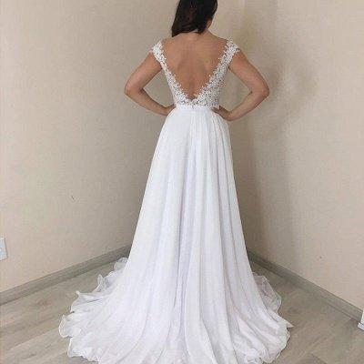 Gorgeous Cap Sleeves V-Neck Long Wedding Dresses | Cheap  Lace Chiffon Bridal Gowns_2