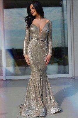 Sparkle Sequins Deep V Neck Prom Dress   Charming Long Sleeves Sash Long Prom Dress_1