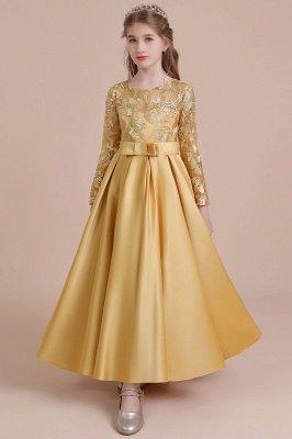 Knöchellanges Blumenmädchenkleid für Hochzeiten | Langarm Satin Kleine Mädchen Kleid_9