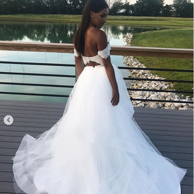 Charming Off The Shoulder A Line Wedding Dresses | White Tulle Lace V-Neck Bridal Gowns_2
