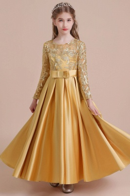 Ankle Length Flower Girl Dress for Weddings| Long Sleeve Satin Little Girls Dress