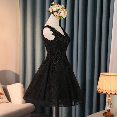 Lace Appliques New Arrival Black Custom Made A-line Beads Sexy Short Homecoming Dresses_3