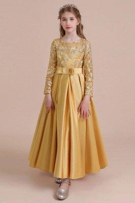 Knöchellanges Blumenmädchenkleid für Hochzeiten | Langarm Satin Kleine Mädchen Kleid_10