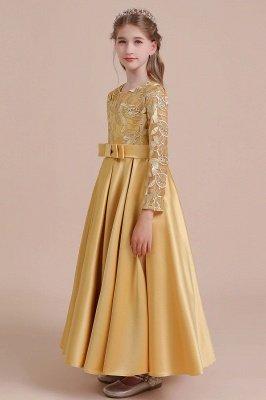Knöchellanges Blumenmädchenkleid für Hochzeiten | Langarm Satin Kleine Mädchen Kleid_6