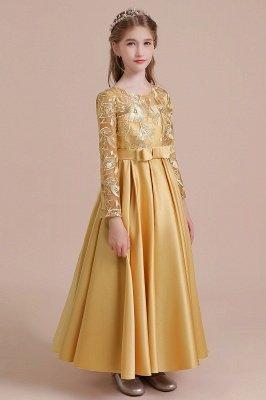 Knöchellanges Blumenmädchenkleid für Hochzeiten | Langarm Satin Kleine Mädchen Kleid_7