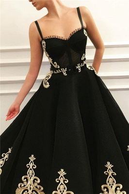 Cheap Straps Sweetheart Black Tulle Prom Dress   Charming Sleeveless Champagne Appliques Long Prom Dress_2
