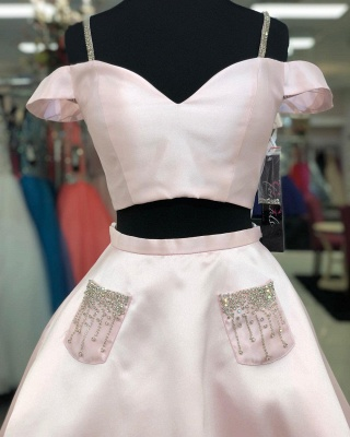 Chic Two Piece Sweetheart Sexy Short Homecoming Dresses | Cute Spaghetti Straps Beads Cocktail Dress with Pockets_2
