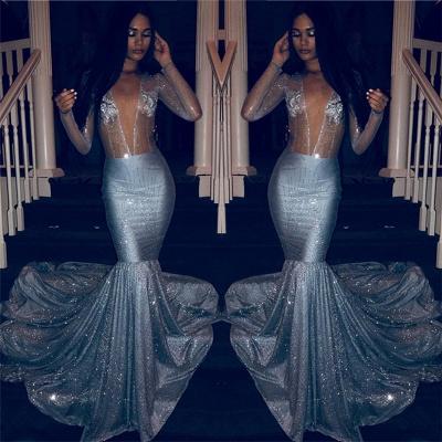 Glamorous Deep V Neck Prom Dresses   Cheap Mermaid Crystal Long-Sleeves Party Dresses_2