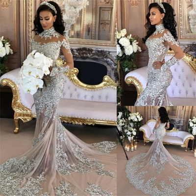 Long Sleeve Silver High Neck Popular Evening Dresses | Sexy Mermaid Luxury Wedding Dresses BH-362_3