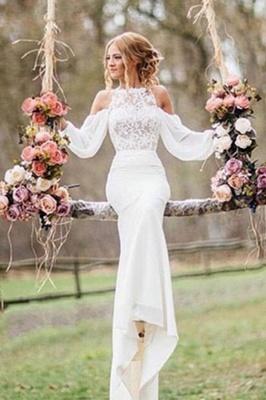 Chiffon Mermaid Elegant Long Sleeve Cheap Online Lace Appliques Wedding Dresses_1