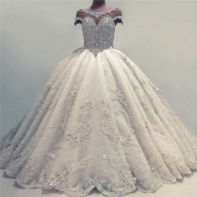 Sexy Ball Gown Wedding Dresses | Shiny Crystals Bridal Gowns with Flowerss_3