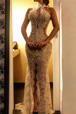 Sexy Slit Lace Prom Dresses Cheap Online | Sleeveless Halter Pearls Long Formal Dress_1